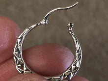 Load image into Gallery viewer, Silver Diamond Cut Hoop Earrings