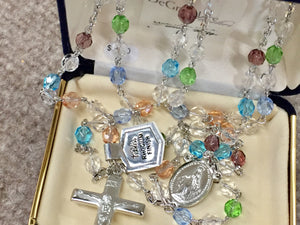 Rosary Beads Multi Colored Rhodium Plated Religious