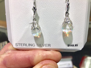 Silver Snow Globe Opal Dangle Earrings
