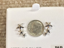 Load image into Gallery viewer, Triple Star Climber Silver Earrings
