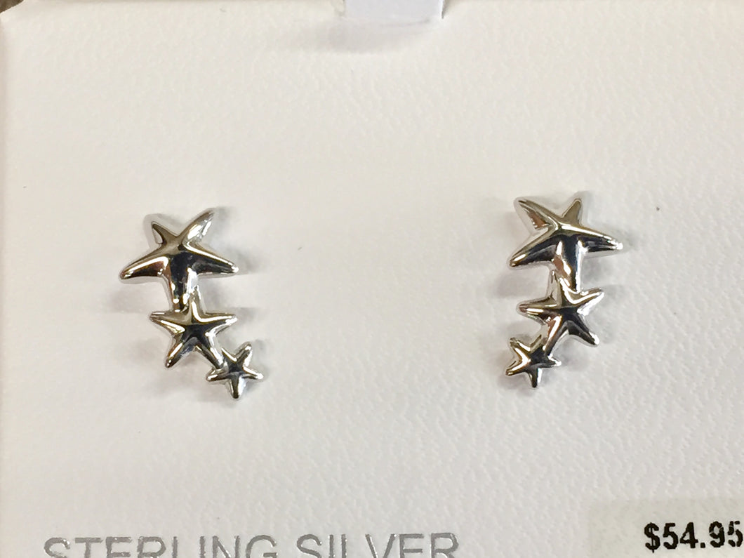 Triple Star Climber Silver Earrings