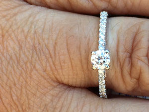 Diamond Engagement Ring .38 Carats 14 K White Gold