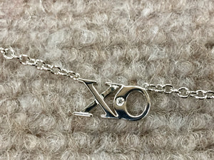 Silver Hugs And Kiss Diamond Necklace