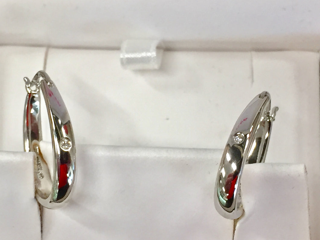 Silver Diamond Hoop Earrings Oval