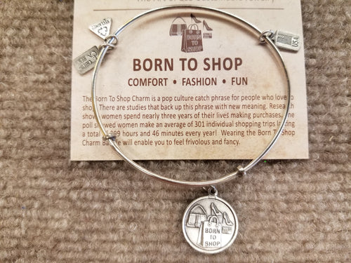 Born to Shop Expandable Silver Brass Charm Bracelet