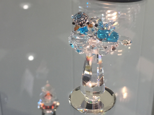 Blue Birds Bath Crystal Figurine