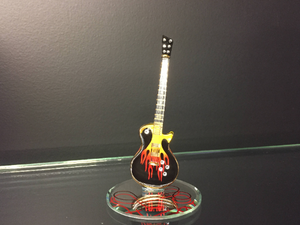 Guitar Heat Glass Figurine With Swarovski Crystals