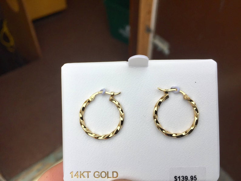 14 K Yellow Gold Twist Hoop Earrings