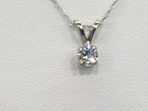 "14 K White Gold Diamond Pendant And 18"" Chain"