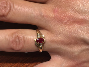 Ruby And Diamond 14 K Gold Ring
