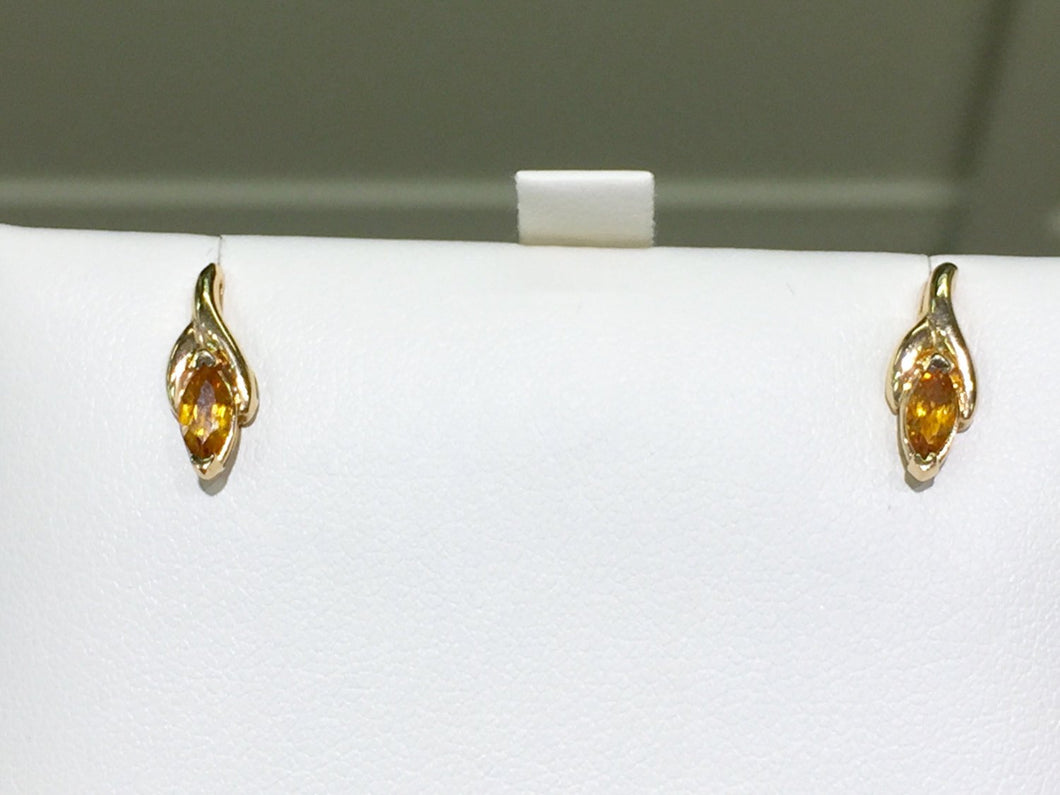 14 K Yellow Gold Citrine Marquise Shaped Earrings