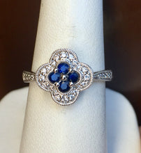 Load image into Gallery viewer, Sapphire And Diamond 14 K White Gold Ring