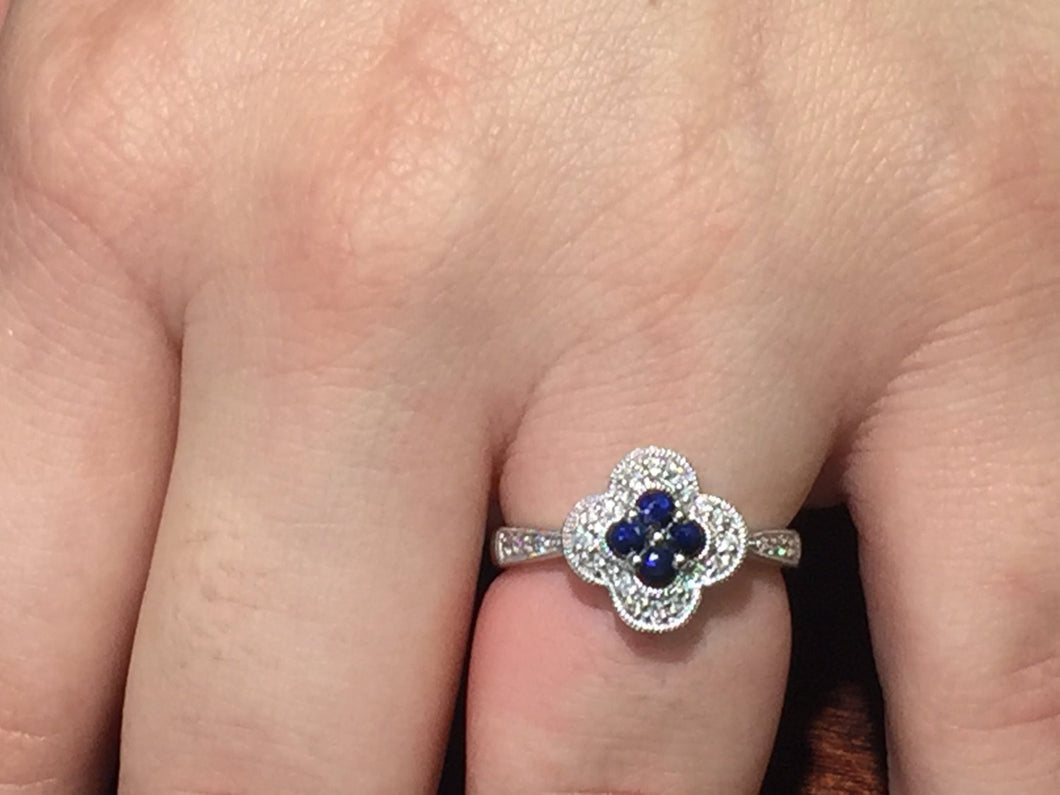 Sapphire And Diamond 14 K White Gold Ring