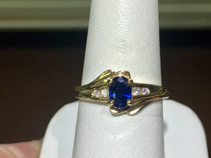 Sapphire And Diamond 14 K Yellow Gold Ring