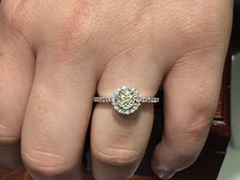 Load image into Gallery viewer, 14k white gold diamond engagement ring yellow diamonds