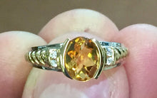 Load image into Gallery viewer, Citrine and Diamond 14k white and yellow gold ring