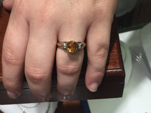 Citrine and Diamond 14k white and yellow gold ring