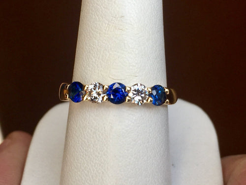 Sapphire And Diamond 18 K Yellow Gold Ring
