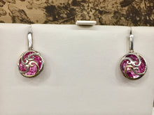 Load image into Gallery viewer, 18k and sterling silver lab created pink sapphire dangle earrings