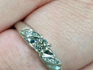 14 K White Gold Diamond Engagement Ring