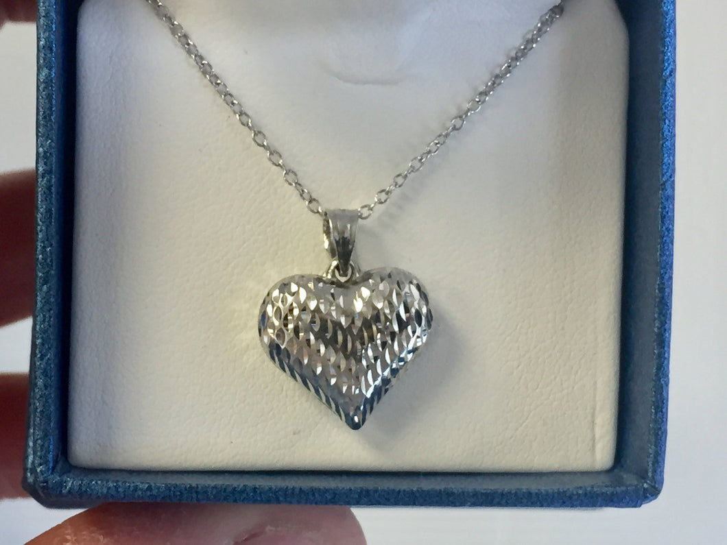 Sterling Silver Heart Pendant And Adjustable Chain