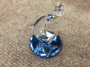 Dolphin With Ball Glass Figurine Swarovski Crystal Elements