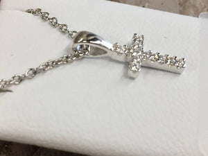Silver Cubic Zirconia Children's Cross And 15 Inch Rope Chain Religious