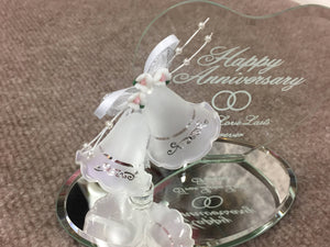 Happy Anniversary Glass Figurine With Bells