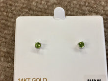 Load image into Gallery viewer, 14 K White Gold 0.58 Carat Round Peridot Stud Earrings August Birthstone