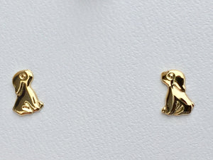 Dog / Puppy 14 K Yellow Gold Earrings