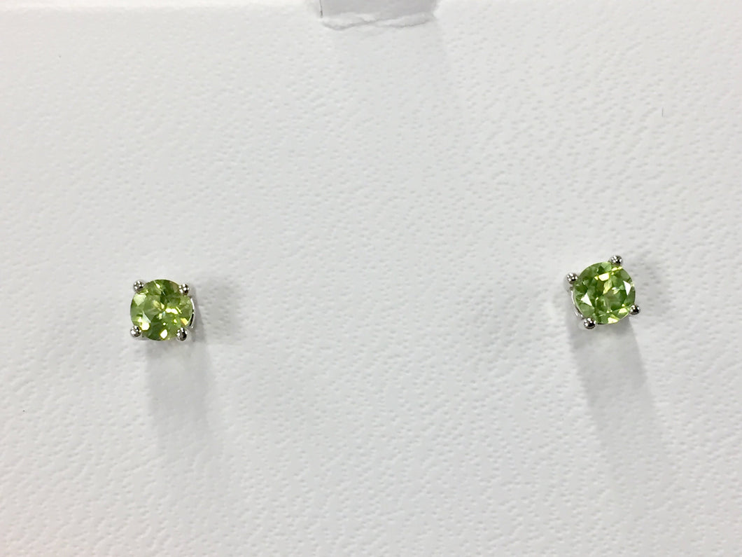 14 K White Gold 0.58 Carat Round Peridot Stud Earrings August Birthstone