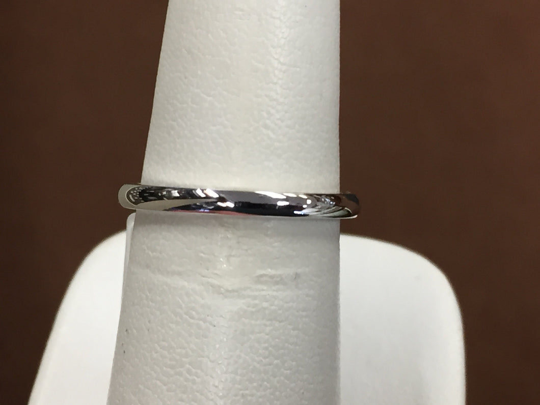 14 K White Gold 2 Millimeter Wide Wedding Ring / Band