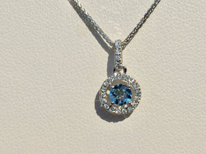 "Aquamarine And Diamond Halo Pendant 14 K White Gold With 18"" Chain"