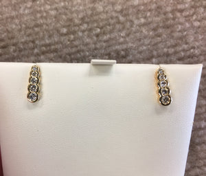 Diamond Stud Earrings 0.50 Carats 14 K Yellow Gold
