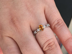Citrine & Diamond 14 K White Gold Ring
