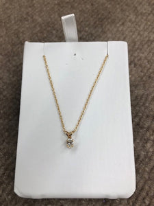 "Oval Cut Diamond Pendant With 18"" 14 K Gold Rope Chain 0.32 Carats"