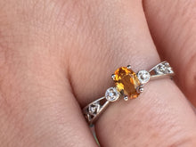 Load image into Gallery viewer, Citrine & Diamond 14 K White Gold Ring