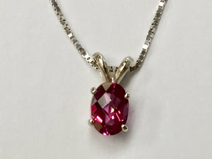 Pink Topaz 14 K White Gold Pendant With 16 Inch White Gold Box Chain