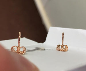 14 k Rose Gold Knot Stud Earrings