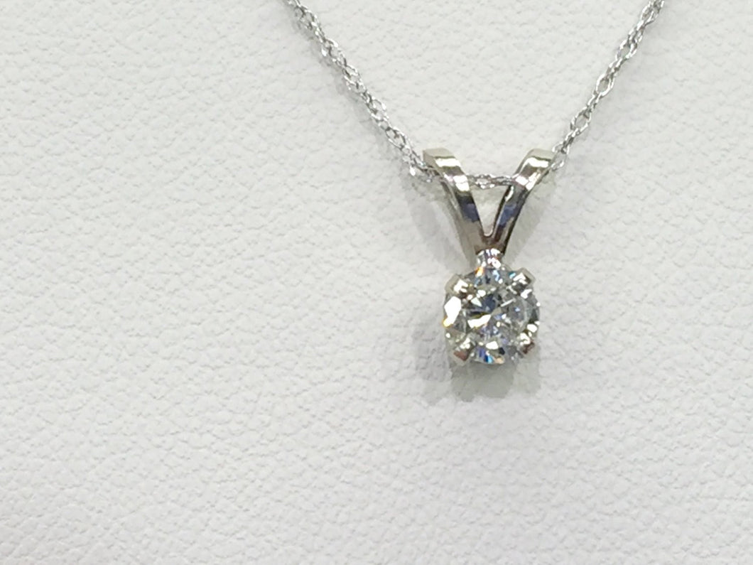 14 K White Gold Diamond Pendant And 18
