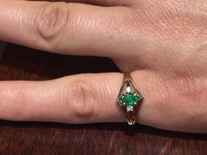 14 K Yellow Gold Marquise Shaped Emerald And Diamond Ring