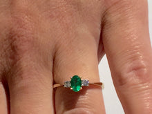 Load image into Gallery viewer, 14k yellow gold emerald and diamond ring