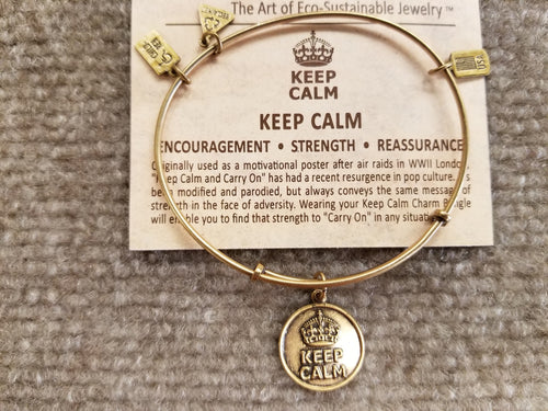 Keep Calm Brass Expandable Charm Bracelet Wind And Fire