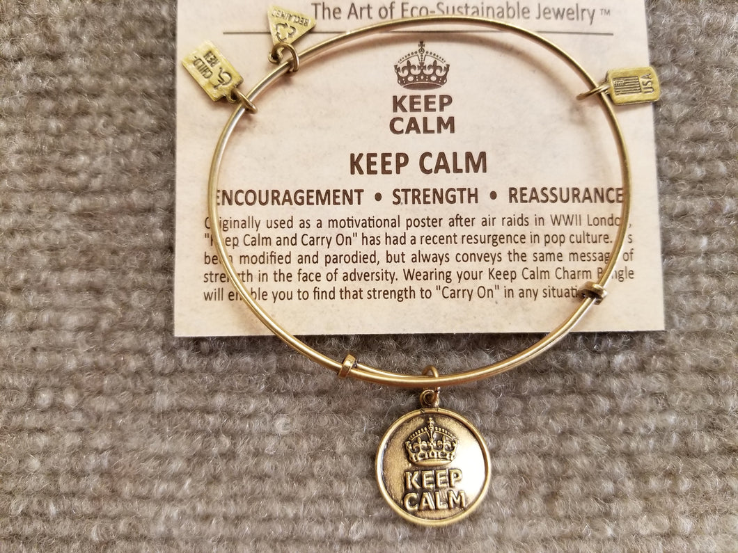 Keep Calm Brass Expandable Charm Bracelet