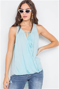 Sky Blue Sleeveless Front Tie Top