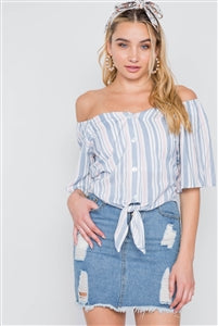 BLUE HEM STRIPE BUTTON FRONT SELF TIE HEM TOP