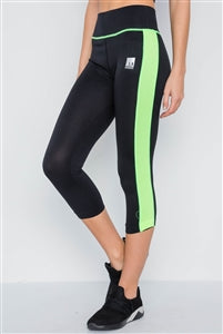 Black & Green Contrast Stripe Leggings