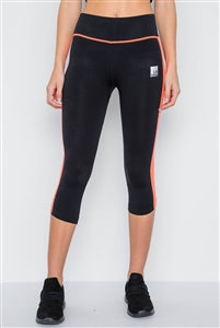 Black & Orange Contrast Stripe Leggings