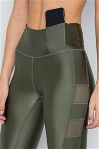 Olive Mesh Capri Leggings