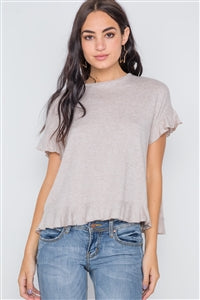 Beige Short Sleeve Ruffle Top